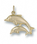 9ct Gold Lightweight Double Dolphin Pendant 0.6g